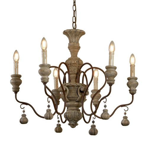 Ida 6 Light Pendant, Rustic Brown, Weathered Wood (Double Insulated) Bx5836-6Br-17